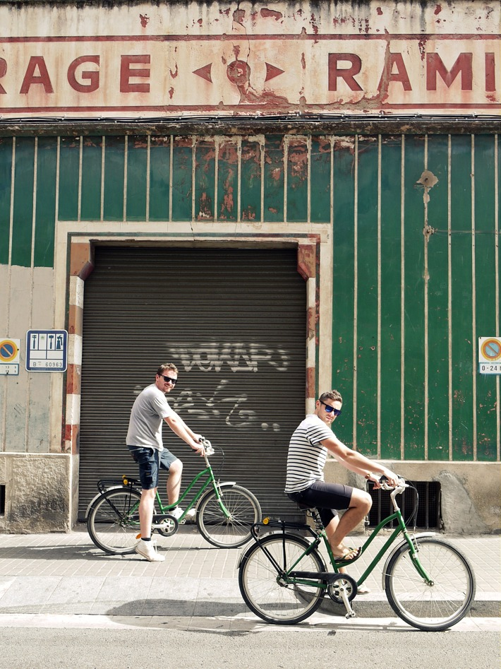 KSR Architects riding bikes in Barcelona