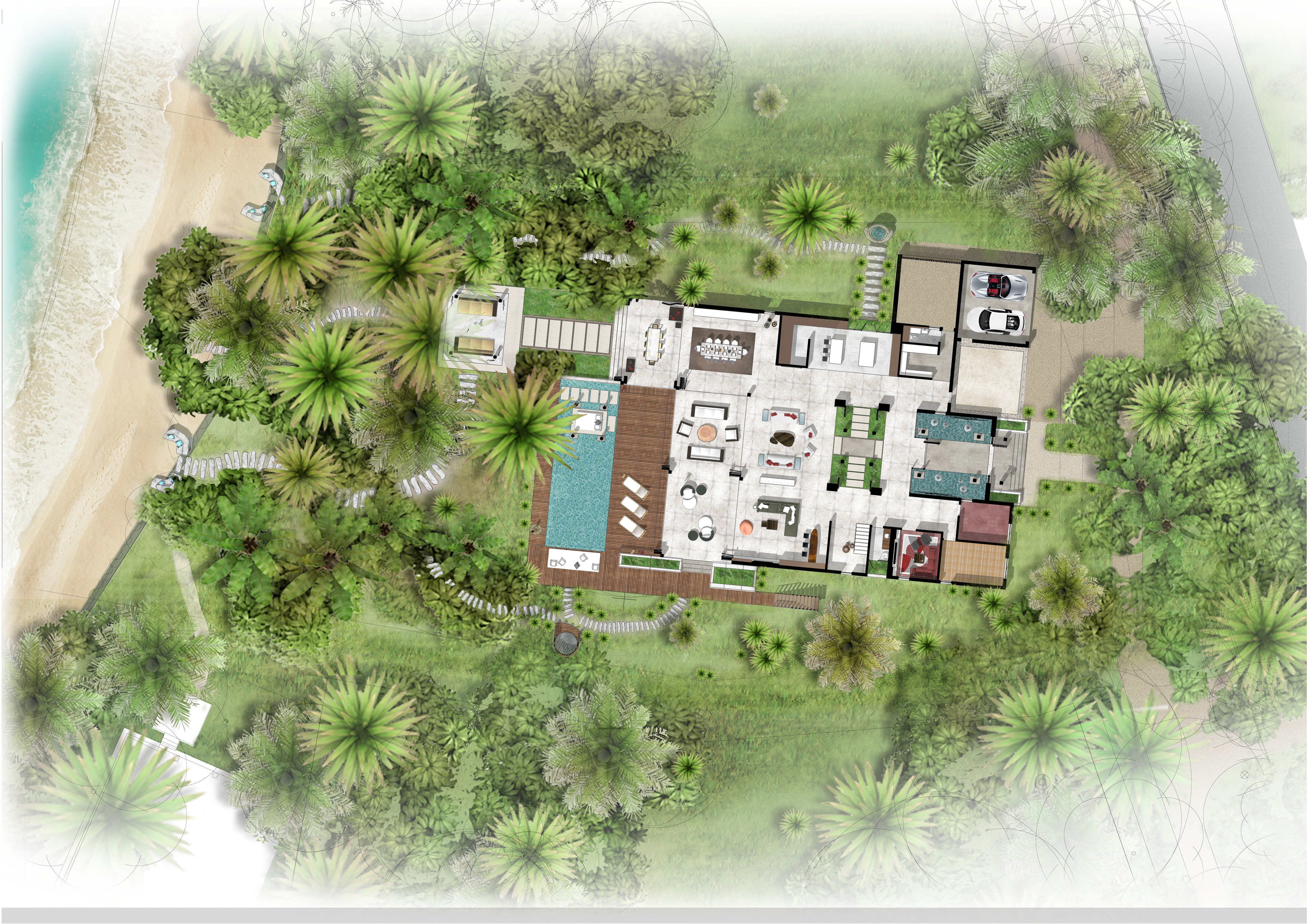 This 6 bedroom luxury modern villa, located on a private island in the Caribbean, combines two wings united by a grand glass entrance; one wing for sleeping and one for entertaining. The floorplan maximises views of the sea, whilst the external appearance relates to the rocky outcrop and allows it to nestle within the lush surroundings using local natural building material such as indigenous coral and timber. KSR also carried out a full interior design service. The entertainment area includes a large open plan space with floor to ceiling windows framing panoramic views. The bedroom area has that are angled windows to add privacy from the main house and provide uninterrupted views. Projecting soffits and a combination of stone, timber and concrete keep the house cool in the hot climate and also achieve the contemporary style the client desired.